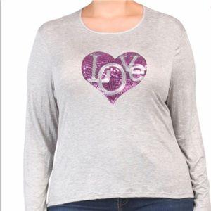 NIB Melissa Masse Knit Top WSequins Heart Size 1X